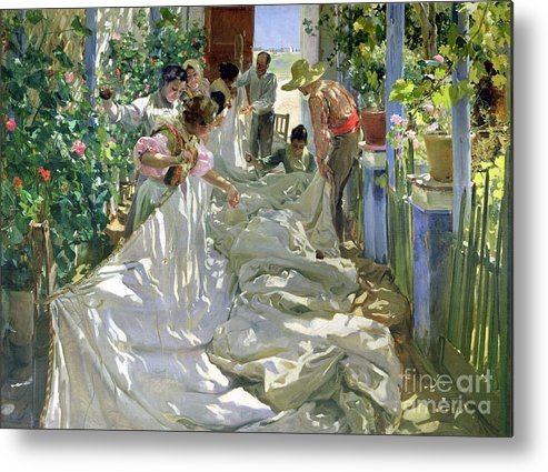 Sewing;straw Hat;geranium;sunshine;worker;workers;greenhouse;conservatory;interior; Pagoda Metal Print featuring the painting Mending The Sail by Joaquin Sorolla y Bastida