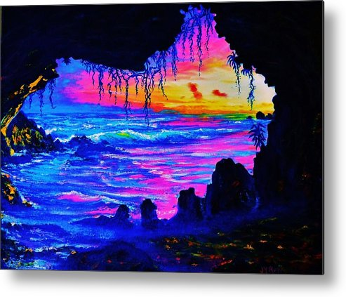 Seascape Metal Print featuring the painting Misty Cave Sunset by Joseph  Ruff