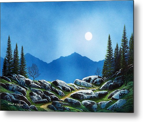 Landscape Metal Print featuring the painting Moonlight Hike by Frank Wilson