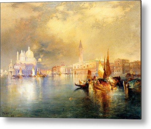 Moonlight In Venice Metal Print featuring the painting Moonlight In Venice by Thomas Moran