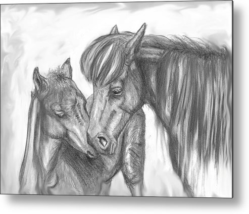 Mother Metal Print featuring the drawing Mother And Foal by Crystal Suppes