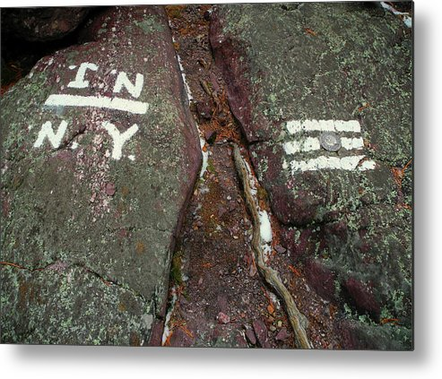 New Jersey New York State Line Of The Appalachian Trail Metal Print featuring the photograph New Jersey New York State Line Of The Appalachian Trail by Raymond Salani III