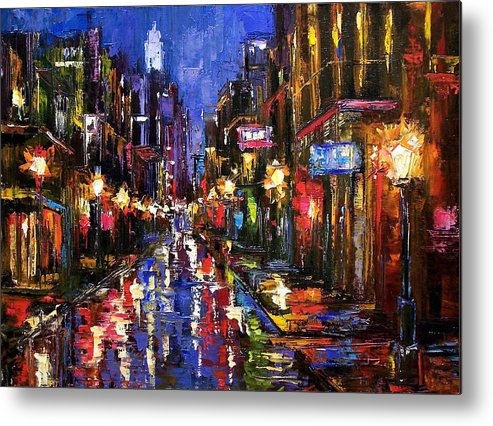 Cityscape Metal Print featuring the painting New Orleans Storm by Debra Hurd