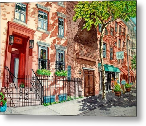 Street Scene Metal Print featuring the painting New York by Sonya Catania