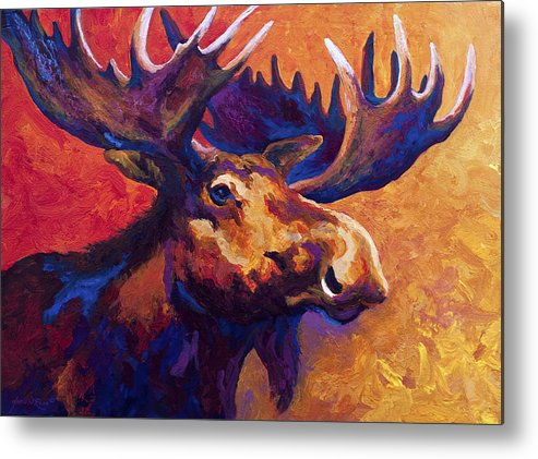 Moose Metal Print featuring the painting Noble Pause by Marion Rose