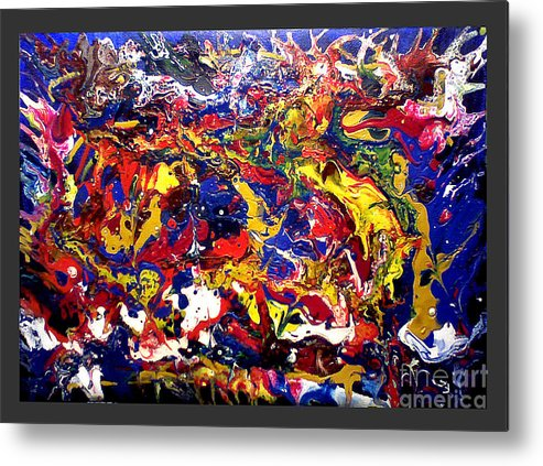Abstract Paint Metal Print featuring the painting Nodark by Sergio Dino-Guida