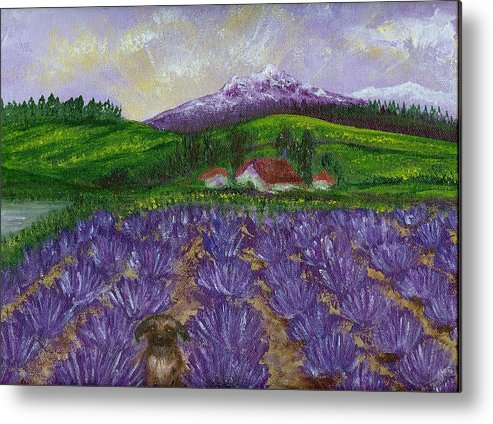 Sunrise Metal Print featuring the painting Nui In Lavender Field by Laura Johnson