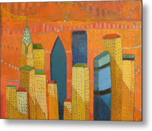 Abstract Cityscape Metal Print featuring the painting Nyc With Chrysler by Habib Ayat