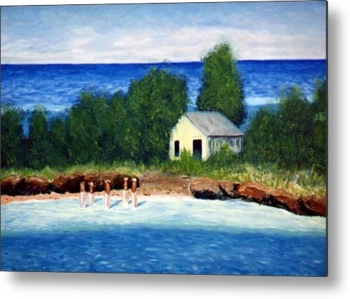 Seascape Metal Print featuring the painting Ocean Shack by Stan Hamilton