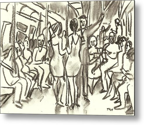 Subway Metal Print featuring the drawing On The A, New York City Subway Drawing by Thor Wickstrom