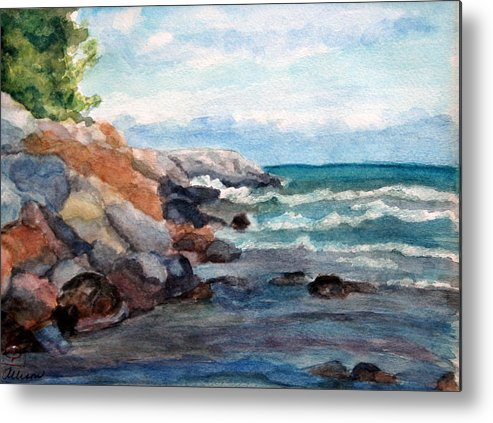 Seascape Metal Print featuring the painting On The Rocks by Stephanie Allison