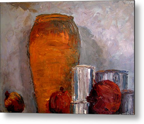Still Life Metal Print featuring the painting On The Shelf by Art Nomad Sandra Hansen