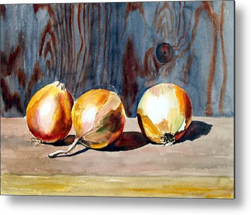 Still Life Metal Print featuring the print Onions In The Sun by Anne Trotter Hodge