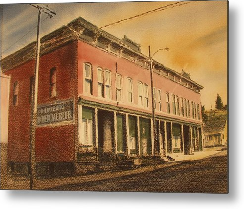Historic Metal Print featuring the painting Opera House Philipsburg Montana by Kevin Heaney