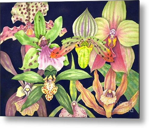 Orchids Metal Print featuring the painting Orchids by Lucy Arnold