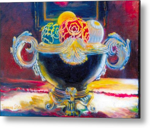 Black Ornate Bowl Metal Print featuring the painting Ornate Black Bowl by Jeanene Stein