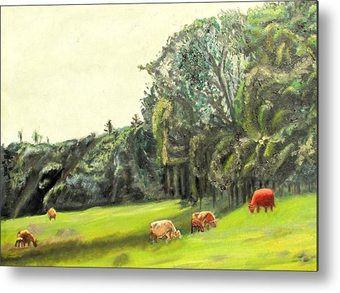 Pasture Metal Print featuring the painting Out To Pasture by Keith Bagg