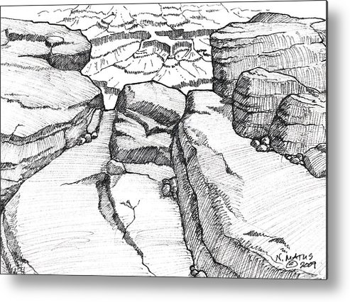 Canyon Metal Print featuring the drawing Overlook by Nancy Matus