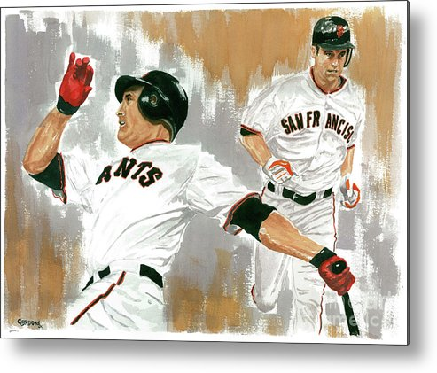 Pat Burrell Metal Print featuring the painting Pat Burrell Study 1 by George Brooks