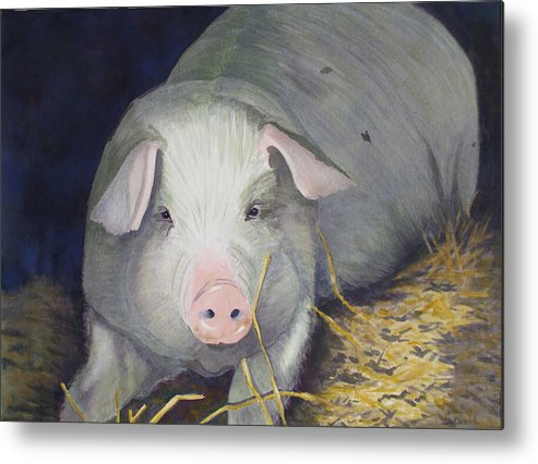 Pig Metal Print featuring the painting Petunia by Ally Benbrook