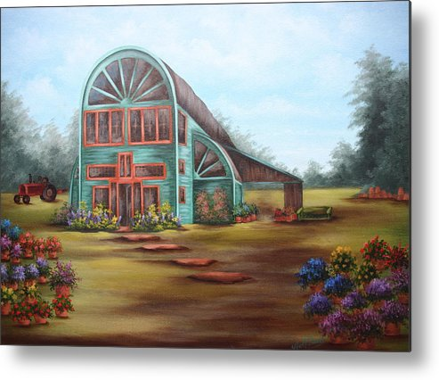 Greenhouse Metal Print featuring the painting Plants For Sale by Ruth Bares