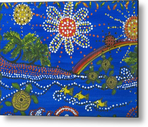 Ocean Party Metal Print featuring the painting Playing In The Sun by Laura Johnson