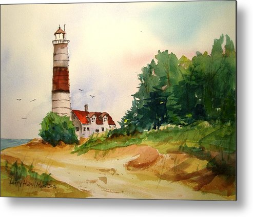 Watercolor Metal Print featuring the painting Point Betsie Lighthouse Michigan by Larry Hamilton