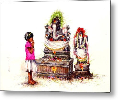 Painting Metal Print featuring the painting Prayer by Siva Balan