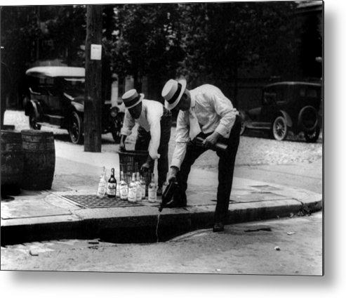 1920s Candid Metal Print featuring the photograph Prohibition, Pouring Whiskey by Everett