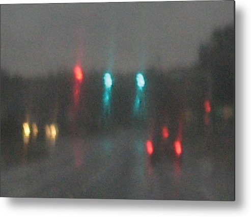 Lights Metal Print featuring the photograph Rain 6 by Stephen Hawks