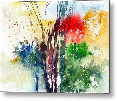 Watercolor Metal Print featuring the painting Red And Green by Anil Nene