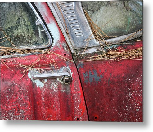 Transportation Metal Print featuring the photograph Red Car Door Handle by Patrice Zinck