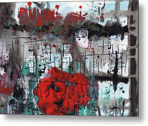Abstract Metal Print featuring the painting Red Rover Red Rover by Wayne Potrafka