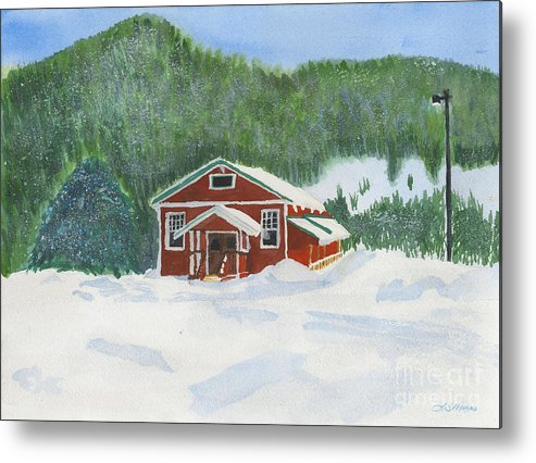 Schoolhouse Metal Print featuring the painting Red School House by Louise Magno