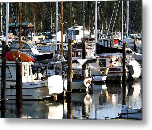 Dock Metal Print featuring the photograph Reflections At Dock II by Mary Gaines