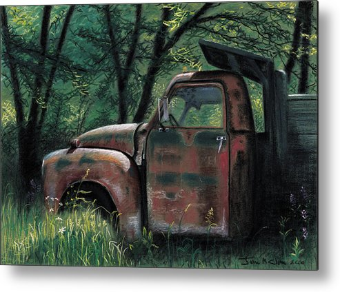 Retired Metal Print featuring the pastel Retired by John Clum
