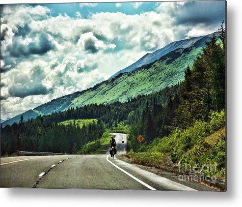 Alaska Metal Print featuring the photograph Road Alaska Bicycle by Chuck Kuhn