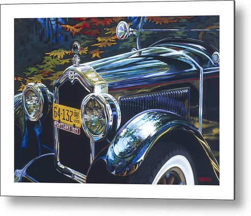 Buick 1925 Portland Ore Car Automobile Antique Black License Plate Reflection Trees Fall Leaf Green Metal Print featuring the painting Roadmaster by Mike Hill
