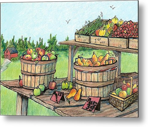 Landscape Metal Print featuring the drawing Roadside Stand by Patricia R Moore
