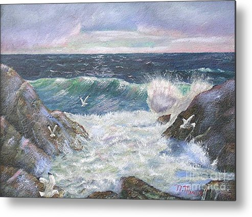 Original Oil Painting Seascape Rocky Shore.  Metal Print featuring the painting Rocky Shore by Nicholas Minniti