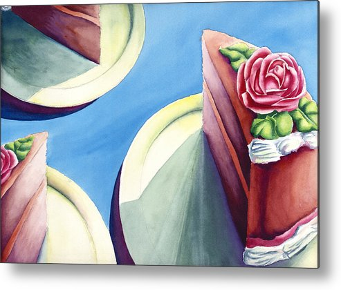 Rose Cake Metal Print featuring the painting Rose Cake by Jennifer McDuffie