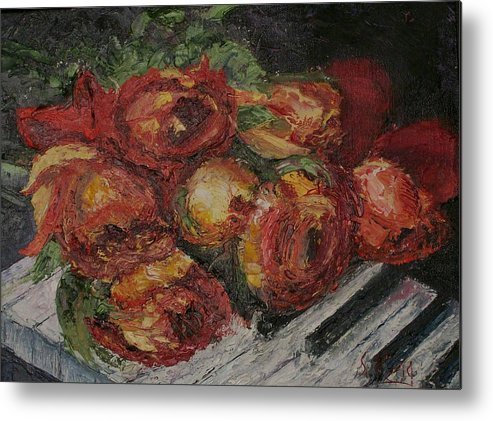 Still Life Metal Print featuring the painting Rose Melody by Stephen King