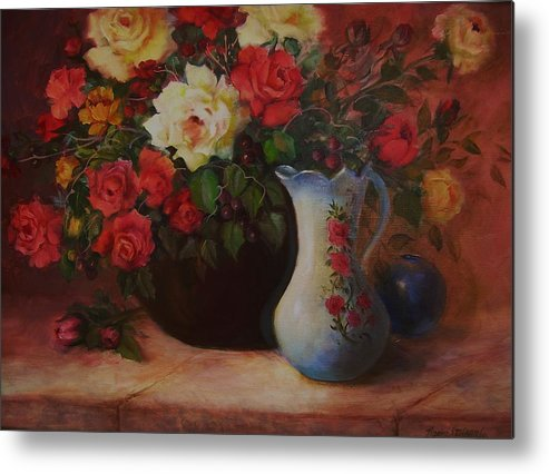 Roses Metal Print featuring the painting Roses N'blue by Naomi Dixon