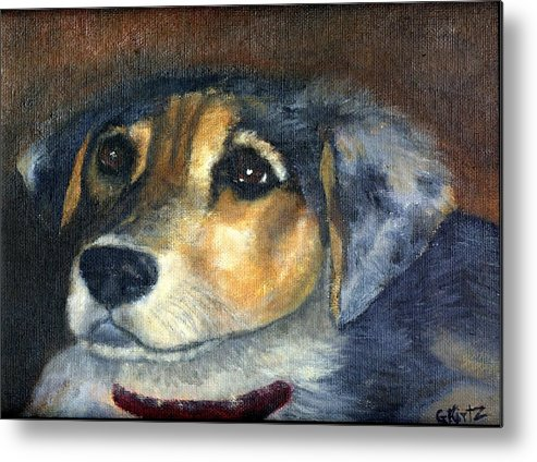 Dog Metal Print featuring the painting Roxie by Gail Kirtz