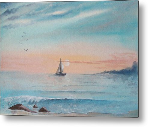Water Metal Print featuring the painting Sail Boat by Bonnie Rogers