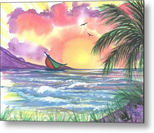 Tropical Seascape Metal Print featuring the painting Sailing Away by Laura Johnson