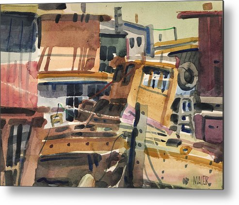 Sausalito Metal Print featuring the painting Sausalito House Boats by Donald Maier