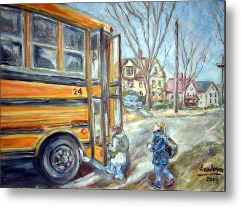Landscape With Children Houses Street School Bus Metal Print featuring the painting School Bus by Joseph Sandora Jr