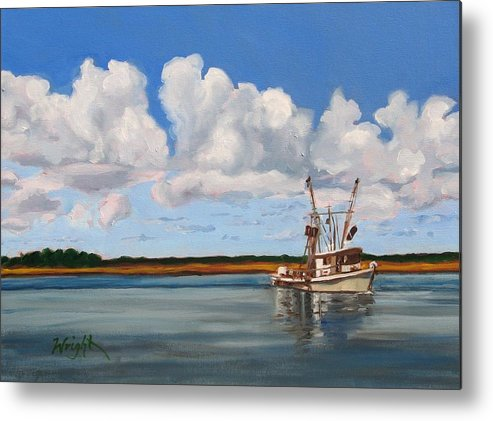 Shrimper Metal Print featuring the painting Shrimper by Molly Wright