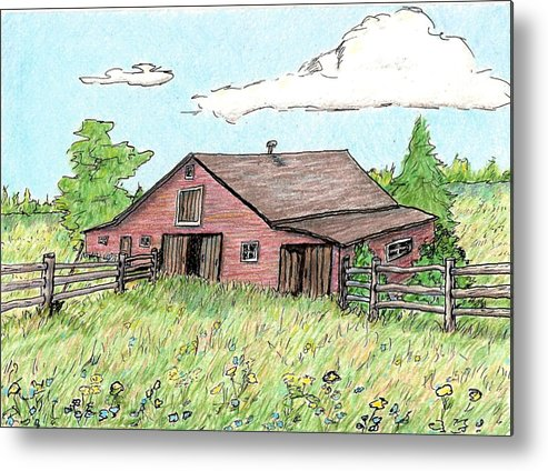 Landscape Metal Print featuring the drawing Silent Sentinal by Patricia R Moore